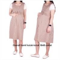 Baju Hamil Overall Hamil Kotak-Kotak ( No Inner ) 1848 - coklat, allsize
