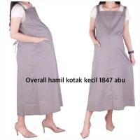 Baju Hamil Overall Kotak Kecil ( No Inner ) 1847 - abu muda, allsize