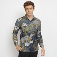 Kemeja Batik Pria Atasan Batik Pria Lengan Panjang Warna Navy - M