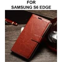 Case Samsung S6 Edge casing hp leather dompet kulit FLIP COVER WALLET - Black