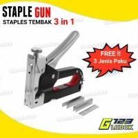 Staple Staples Steples Gun Tembak 3 in 1 Jok Kulit Kayu Karpet Kardus