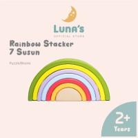 Luna's Rainbow Stacker 7 Susun Wooden Toys Mainan Kayu Balok Susun