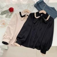 Pakaian blouse wanita model Reisa top lengan panjang bahan twiscone