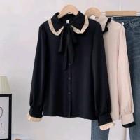 Reisa top blouse wanita model polos bahan twiscone size fit L