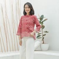 Vivi Merah Putih T0962, Baju atasan kerja blouse batik wanita modern