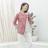 Tango Merah Putih T0968, Baju atasan kerja blouse batik wanita modern