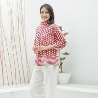 Kalina Merah Putih T0965, Baju atasan kerja blouse batik wanita modern