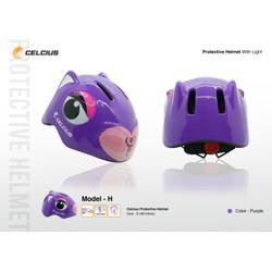 Helm Sepeda Anak Karakter Celcius - Model H Rabbit Kelinci Ungu
