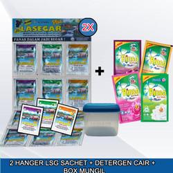 2 HANGER LASEGAR SACHET + BOX MUNGIL + DETERGEN CAIR 42ML