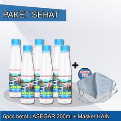 PAKET SEHAT 6pcs LASEGAR BOTOL 200ml + MASKER