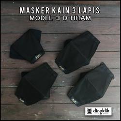 Masker 3D Kain 3 Ply HITAM