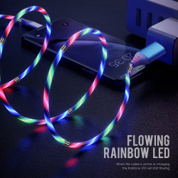 YUU DATA CABLE MICRO USB 2.4A FLOWING RAINBOW LED – YCBM08M