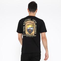 Wanderlust T-Shirt Kaos I Hate Routine Black