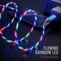 YUU DATA CABLE TYPE-C 2.4A FLOWING RAINBOW LED – YCBM08C