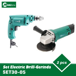 set electrik drill sh30 bor 10mm dan gerinda tangan sh05