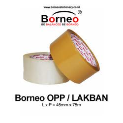 Borneo OPP Lakban Bening / Coklat 45 mm x 80 Yard