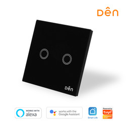 DEN Smart Home WiFi Touch Wall Switch 2-gang (No Neutral)