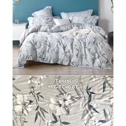 Moon kain sprei meteran sutra tencel motif bunga daun abu classic soft