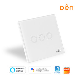DEN Smart Home WiFi Touch Wall Switch 3-gang (No Neutral)