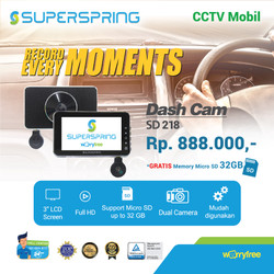 SUPERSPRING SUPER SPRING SD218 DASHCAM CCTVMobil 2 Kamera 1080P