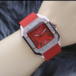 Jam tangan analog wanita terbaru tanggal aktif strap rubber - Merah
