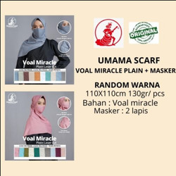 Jilbab Masker VOAL MIRACLE PLAIN LC Umama Scarf RANDOM WARNA 110x110cm