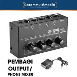 HA400 Headphone Amplifier Pembagi Output Phone Mixer