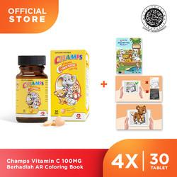 Champs Vitamin C 100MG Berhadiah AR Coloring Book (30Tablet x 4Botol)