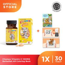 Champs Vitamin C 100MG Berhadiah Coloring Book (30Tablet x 1Botol)