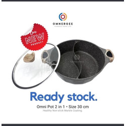 OMNERGEE OM NI POT 2 in 1 (With Glass Lid) - Premium Divided pot wajan