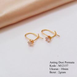 Anting Desi Gantung Permata Zirkonis Lapis Emas Missi Fashion Jewelry