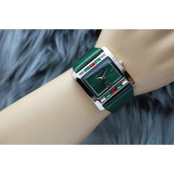 jam tangan analog wanita/cewek gucci terbaru model kotak - hijau