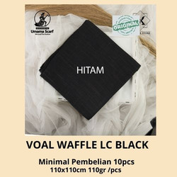 Grosir Jilbab segiempat umama original VOAL WAFFLE LC BLACK 110X110CM