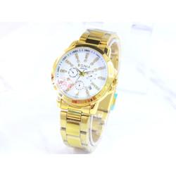 jam tangan analog wanita terbaru /jam tangan murah elegan mewah Gold