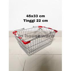 Keranjang belanja supermarket stainless steel 45x33 cm unik A97-32 L
