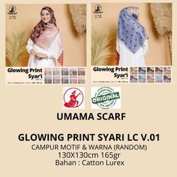 Jilbab segiempat GLOWING PRINT SYARI LC umama RANDOM MOTIF & WARNA