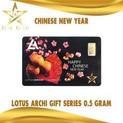 EMAS LOGAM MULIA GIFT SERIES LOTUSARCHI 0,5GR 0,5GRAM CHINESE NEW YEAR