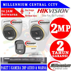 PAKET CCTV HIKVISION COLORVU AUDIO 2MP 3 CHANNELL HDD 500GB + 75METER