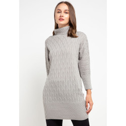 Cable Batwing Knit Dress 484 Grey Mel