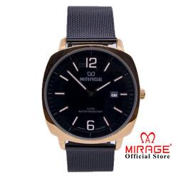 Jam Tangan Pria Model Terbaru Mirage Rantai Geser 8720M Hitam Rosegold
