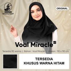 Jilbab UMAMA VOAL MIRACLE PLAIN KHUSUS HITAM kerudung segiempat