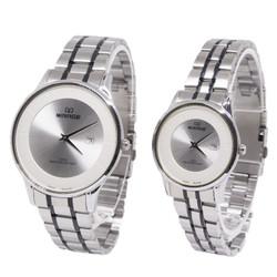Kado Valentine Jam Tangan Couple Mirage Silver List Hitam 8670 Serasi