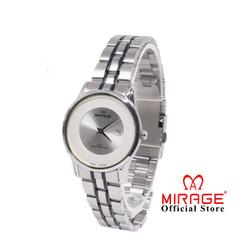 Jam Tangan Wanita Modern Mirage Silver List Hitam 8670L Keren Anti Air
