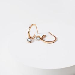 anting handmade hoop blue topaz 925 sterling silver 18k rosegold dip