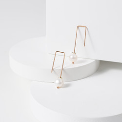 earrings pearl 925 sterling silver 18 k rosegold plated rectangle