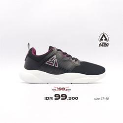 Aerostreet 37-40 Enola Hitam - Sepatu Sneakers Sport Pria Wanita Aero