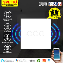 VETTO Smart WiFi Touch Wallswitch - Saklar 3 Gang Putih