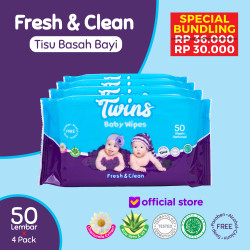 Twins Tissue Basah Bayi Fresh & Clean - 50 Sheets