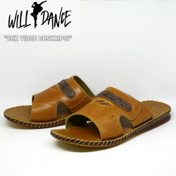 Sandal Pria Kulit Sapi Asli Willdance Slip Slop Coklat Tan Santai 02
