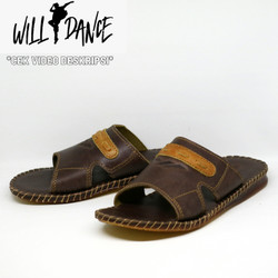 Sandal Pria Kulit Sapi Asli Willdance Slip Slip Coklat Tan Santai 01
